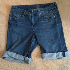 Melissa McCarthy stretch denim roll hem shorts